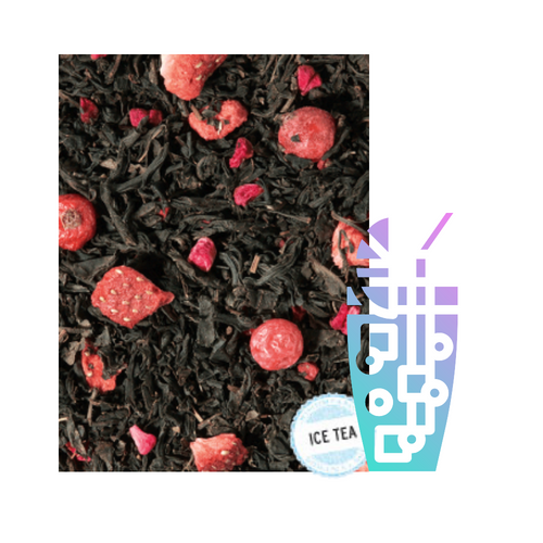 Raspberry/Blueberry Blk Tea (Loose Leaf): Fields full of organically grown berries as far as the eye can see – and in the middle there is us, gathering the best berries in a basket.    Ingredients: black tea (94%), natural flavoring, from organic cultivation: freeze-dried strawberry pieces, freeze-dried raspberry pieces, freeze-dried red currants,   Taste: Refreshing red strawberries, black currants and bright pink raspberries kissed by the sun, are just waiting to be enjoyed. An additional touch of freshly picked blueberries rounds off our organic creation. Try it as an iced tea as well.