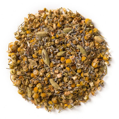 Sleep- Wellness Tea (loose Leaf) Ayurvedic Infusion provides the stability that the mind, body and emotional state need in order to unwind and prepare for a restful night's sleep.  Ingredients: Organic chamomile flower, organic gotu kola leaf, organic orange peel, organic lavender flower, organic cinnamon bark, organic licorice root and organic cardamom seed.  Taste: a floral blend with cinnamon and citrus top notes.  Cornucopia's Tea line of organic Ayurvedic Infusions aims to promote balance between the mind, body and spirit. These adaptogenic tea blends are meant to align the inner elements and forces of the body, to the outer elements and forces of the universe.  There are three types of sleep deficiencies in Ayurveda, which relate to the three doshas, or mind-body types: Vata, Kapha and Pitta. As the Vata dosha relates most directly to one's mental state, a Vata sleep disorder commonly presents itself in a restless mind, creating an inability to fall into a deep sleep, which can be counteracted with soothing lavender. Alternatively, imbalances in the Kapha dosha typically effect one's ability to recover from sleep; often times leaving one feeling lethargic and groggy after a full night's rest, which is best counteracted with chamomile. Lastly, imbalances in the Pitta dosha are more emotional in nature, but tend to present themselves biologically while interrupting sleep with symptoms that may include hot flashes, which can be avoided with the use of cooling gotu kola.
