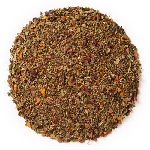 Slim- Wellness Tea (loose Leaf) Ayurvedic Infusion aims to curb cravings and promote weight management.  Ingredients: Organic tulsi leaf, organic rooibos herb, organic gymnema sylvestre leaf, organic cinnamon bark, organic turmeric root, organic haritaki herb and organic hibiscus flower.  Taste: sweet, earthy blend with spice top notes.  Cornucopia's Tea line of organic Ayurvedic Infusions aims to promote balance between the mind, body and spirit. These adaptogenic tea blends are meant to align the inner elements and forces of the body, to the outer elements and forces of the universe.  When it comes to weight management, an imbalance in one's prakriti is caused by a number of influences, including one's habits, emotional state and physiology. In order to promote weight loss, one must not simply focus on improving the physique but also the psyche by directly appeasing imbalances in the three doshas, or mind-body types: Vata, Pitta and Kapha. The ingredients in Davidson's Slim blend can aid in tackling the Vata-related mental challenges of cravings and concentration, as well as the more Pitta-like emotional setbacks, like motivation. On a Kapha-focused physical level, tulsi and rooibos are known to improve digestion and strengthen metabolism. Combined with heart-healthy hibiscus, pancreas-purifying gymnema sylvestre, fat-metabolizing turmeric root and tummy-cleansing haritaki, this blend is the perfect weight management supplement.