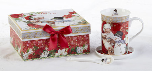 """Santa Mug Coaster Spoon Set in gift box, will brighten anyone's holiday in its own matching print gift box with matching satin ribbon. A decorative tassel on the handle adds a lovely finishing touch. The matching coaster is perfect for any spot you leave your cup and the porcelian teaspoon makes tea time all the more special. Add a Christmas tea for an extra joyous gift this season.  Includes:  4.9"""" Porcelain Mug in gift box Matching Coaster Matching Porcelian Teaspoon Soft white background with a feather and floral print Dishwasher safe  Other Items Available:  Tea choices available to add to your order in the loose-leaf shop Teas and Teaware are shipped together, Cornucopia Teas come in resealable pouches with decorative tea labels, and includes a recipe and brewing guide. If purchasing as a gift your personal message is included on the pamphlet."""