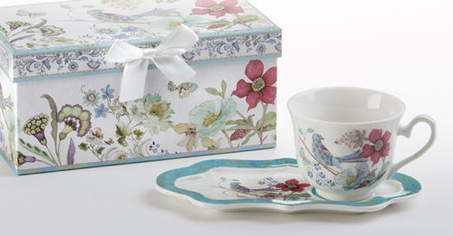"""Partridge Tea and Toast Set in gift box: Enjoy your morning breakfast or afternoon tea and snack on this pretty set. A pleasant way to create a moment of indulgence. Add one of our specialty loose leaf teas and cuddle up with a good book, sounds invigting to whisk your cares away. Meant for everyday use. Comes in its own matching print gift box with matching satin ribbon. Great Gift Idea: New Mommy, Birthday, get well, thank you.  Includes:  4.2"""" x 9"""" tray Porcelain Teacup Soft white background with a bird and floral print Dishwasher safe  Other Items Available:  Tea choices available to add to your order in the loose-leaf shop Teas and Teaware are shipped together, Cornucopia Teas come in resealable pouches with decorative tea labels, and includes a recipe and brewing guide. If purchasing as a gift your personal message is included on the pamphlet."""