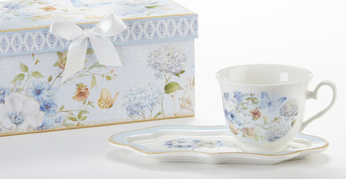 "Blue Butterfly Tea and Toast Set in gift box:  Enjoy your morning breakfast or afternoon tea and snack on this pretty set.  A pleasant way to create a moment of indulgence. Add one of our specialty loose leaf teas and cuddle up with a good book, sounds invigting to whisk your cares away. Meant for everyday use.  Comes in its own matching print gift box with matching satin ribbon. Great Gift Idea: New Mommy, Birthday, get well, thank you.    Includes:  4.2"" x 9""  tray Porcelain Teacup Soft white background with a Blue Butterfly and floral print  Dishwasher safe  Other Items Available:  Tea choices available to add to your order in the loose-leaf shop  Teas and Teaware are shipped together, Cornucopia Teas come in resealable pouches with decorative tea labels, and includes a recipe and brewing guide. If purchasing as a gift your personal message is included on the pamphlet."