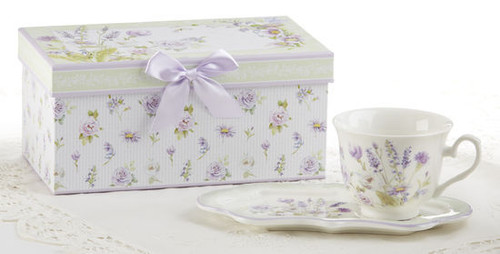 """Lavender Rose Tea and Toast Set in gift box: Enjoy your morning breakfast or afternoon tea and snack on this pretty set. A pleasant way to create a moment of indulgence. Add one of our specialty loose leaf teas and cuddle up with a good book, sounds invigting to whisk your cares away. Meant for everyday use. Comes in its own matching print gift box with matching satin ribbon. Great Gift Idea: New Mommy, Birthday, get well, thank you.  Includes:  4.2"""" x 9"""" tray Porcelain Teacup Soft white background with a floral print Dishwasher safe  Other Items Available:  Tea choices available to add to your order in the loose-leaf shop Teas and Teaware are shipped together, Cornucopia Teas come in resealable pouches with decorative tea labels, and includes a recipe and brewing guide. If purchasing as a gift your personal message is included on the pamphlet."""