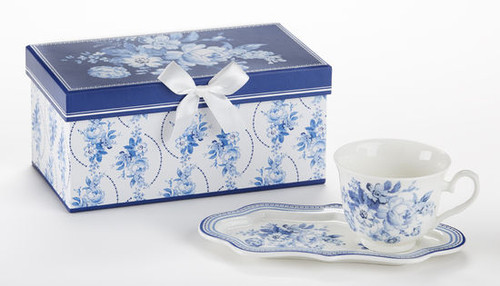 """English Blue Tea and Toast Set in gift box: Enjoy your morning breakfast or afternoon tea and snack on this pretty set. A pleasant way to create a moment of indulgence. Add one of our specialty loose leaf teas and cuddle up with a good book, sounds invigting to whisk your cares away. Meant for everyday use. Comes in its own matching print gift box with matching satin ribbon. Great Gift Idea: New Mommy, Birthday, get well, thank you.  Includes:  4.2"""" x 9"""" tray Porcelain Teacup Soft white background with a floral print Dishwasher safe  Other Items Available:  Tea choices available to add to your order in the loose-leaf shop Teas and Teaware are shipped together, Cornucopia Teas come in resealable pouches with decorative tea labels, and includes a recipe and brewing guide. If purchasing as a gift your personal message is included on the pamphlet."""