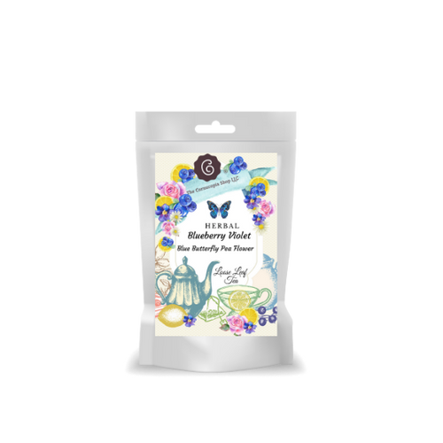 Blue Butterfly Pea Flower Herbal Tea (Loose Leaf): This royal, noble herbal composition is rich in hand rolled Georgian mountain blueberry and raspberry leaves, which are very similar to orthodox tea specialities. Big mallow petals and enigmatic butterfly pea flowers decorate to perfection.  Ingredients: apple pieces, mountain blueberry leaves, mountain blackberry leaves, rose hip peel, orange peel, blackberry leaves, sweet blackberry leaves, melissa leaves, lemon grass, lemon peel, natural flavoring, mallow blossoms, blue butterfly pea flowers, blue cornflower blossoms.  Taste: The delicate floral nuances accompanied by fruity blueberries offer a most convincing flavour.  An amazing tea in so many ways! This tea blend is composed of blue pea flowers, imparts a blue color in the cup when steeped in hot water. Watch for hues of purple, enchanting! This Teas acidic blend creates even more mystery of the cup color, which final color can shine emerald green or golden hughes instead of butterfly pea lapis lazuli blue.