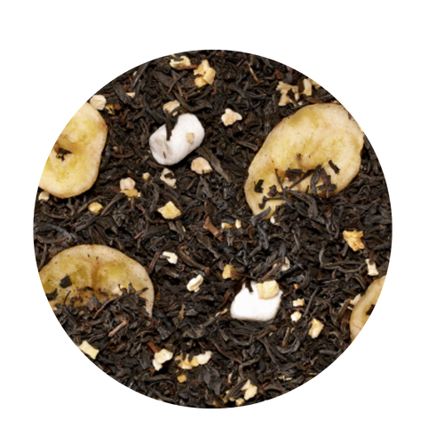 Black tea flavored Pineapple Banna  Far from simply banana: this blend delightfully combines wonderful sweet aromas of exotic ripe fruits. A great dessert tea when your sweet tooth calls without the guilt!   Taste: Creamy notes support the idea of a banana-pineapple dessert. Banana slices and chips combined with small marshmallows crown this special black tea blend. Ingredients: Black tea (80 %), freeze-dried banana pieces, banana chips (banana, coconut oil), flavoring, marshmallows (glucose-fructose syrup, sugar, water, gelatine, corn starch, natural flavouring)  4-5 minutes | 203-212 °F |1 level tsp./6 oz serving