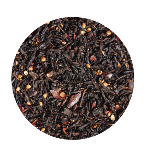Black tea flavored Dark Chocolate  Here we have chosen a wonderfully balanced blend of finest black teas from Ceylon and China that puts a special focus on a stronger cup.  Taste: Cocoa peel and coriander underline the tart yet sweet chocolate flavors of cocoa and dark chocolate. Ingredients: Black tea (65 %), cocoa peel, broken cocoa bits, coriander, flavoring.A true temptation, which you should also try with a little bit of milk  4-5 minutes | 203-212 °F |1 level tsp./6 oz serving