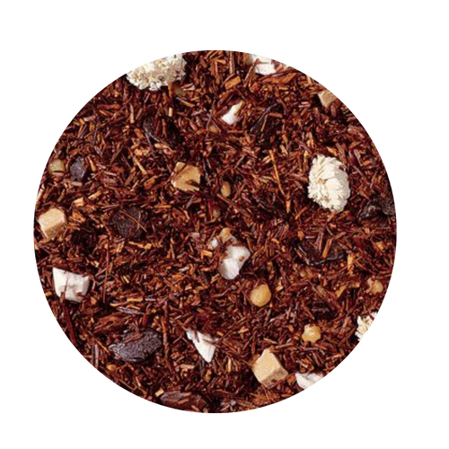 Rooibos tea blend, flavored Tiramisu/Mascarpone  Taste: The light Irish coffee taste, complemented by a hint of sweet caramel pieces, is refined by mascarpone. Coffee lovers will be delighted and forget it's tea.  Ingredients:Rooibos tea, chocolate chips (sugar, ground cocoa beans with cocoa butter, powdered cocoa, emulsifying agent: soy lecithin), brittle pieces (sugar, hazelnuts, invert sugar), cream-caramel pieces (sweetened condensed skimmed milk, sugar, glucose, molasses, butter fat, wetting agent: sorbitol, emulsifying agent: mono- and diglyceride of edible fatty acids), flavoring, freeze-dried yoghurt granules (skimmed milk yogurt, sugar, maltodextrin, modified starch, acidifying agent: citric acid), roasted coffee beans, Roman chamomile  8-10 minutes  203-212 °F  1-2 level tsp./ 6 oz serving