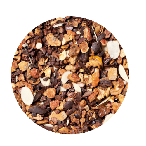 Fruit tea blend, flavored Chocolate/Peanut/Caramel  Anyone who holds a chocolate bar like this one in his hands is definitely a darling of fortune! Sweet chocolate aromas, combined with delicately melting caramel and the taste of crunchy peanuts will put a smile on any sweet tooth! You think this is decadent? No, simply a lucky chance!  Ingredients: apple pieces, broken cocoa bits, cocoa peel, cream-caramel pieces (sweetened condensed skimmed milk, sugar, glucose, molasses, butter fat, wetting agent: sorbitol, emulsifying agent: mono- and diglyceride of edible fatty acids), flavoring, sliced almonds, planed almonds.  2-3 minutes 176-194° F 1 level tsp./6 oz serving