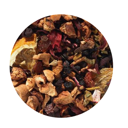 Fruit tea blend, flavored Mulled Wine (Red Wine/Orange/Cinnamon)  Is there anyone who does not know this wintry wine punch, which ensures so many sociable evenings? This tea blend is a real taste explosion thanks to the exceptional flavor composition of the very unique German version. What makes this blend so special: the traditional flamed cone sugar, which slowly melts into delicious caramel. Pure exaltation!  Ingredients: apple pieces, hibiscus blossoms, elderberries, rose hip peel, Mistletoe, cinnamon rods, flavoring (celery seed oil), orange slices, cloves.    2-3 minutes 176-194° F 1 level tsp./6 oz serving