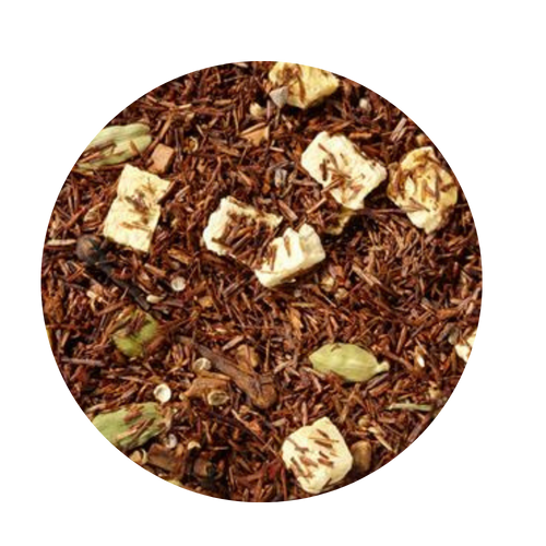 Rooibos tea blend, flavored Pumpkin Spice  Pumpkin, a treat so well known and loved. Be it in the form of the favorite holiday pie or, as is the case here, simply in a cup, the pumpkin in combination with just the right touch of spice fascinates us all. We felt that this Rooibos indulgence was a good way to start the second half of the year. Do you agree?  Ingredients: Rooibos tea, cinnamon pieces, cardamom (whole), flavoring, freeze-dried pumpkin pieces, coriander, cardamom seeds, cloves Add a scoop of homemade whipped cream or froathed milk topping and an extra dash of cinnamon on top, enjoy!  Homemade Whipped Cream Recipe:  2/3 cup heavy cream 1/2 teaspoon pure vanilla extract 2 tablespoons confectioners' sugar Dash of Cinnamon to taste  Whip the heavy cream in the bowl of an electric mixer fitted with the whisk attachment on medium speed until soft peaks form, 2 to 4 minutes. Add the vanilla and confectioners' sugar; continue whipping on medium speed until the soft peaks return, 2 to 3 minutes. Use immediately.  Froathed Milk secret: If you prefer a froathed milk topping here are a few tips we found from our test kitchens  Use skim milk for the fluffiest, creamiest, quickest froathed milk topping. Add a drop or two of vanilla, or almond flavoring before froathing.  Enjoy your Tea!