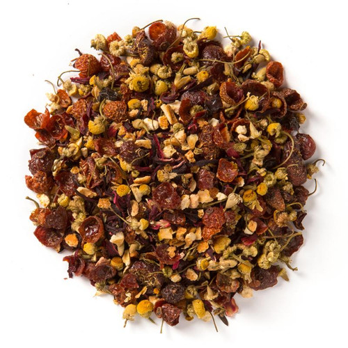 Herbal Cranberry Orange (Loose Leaf) combines cranberry essence with a unique base of chamomile flowers and orange peel. Wonderful for a Christmas blend to take the chill of the nip of your nose and warm you to the soul.  Ingredients: Organic rosehips, organic orange peel, organic hibiscus, organic chamomile, organic cranberries, organic rooibos, and natural flavor.  Taste: a delicate brew with tart cranberry undertones and a tangy citrus finish.  Origin: Organic rooibos from South Africa.