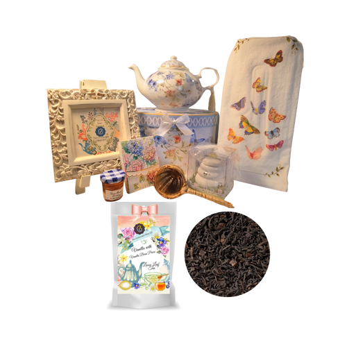 "There's Always Time for Tea- Gift Box-Blue Butterfly: Kick your heels off and enjoy teatime with this lovely gift set. Comes with porcelain teapot in matching print gift box, Cornucopia's Loose-Leaf tea, tea accessories and stationery.  Sip your tea, make notes on the note pad, and rejuvenate to meet the rest of the day.  Our high grade tea will leave you feeling refreshed and ready to meet any challenges ahead.     Includes:  5 x 5.6"" Porcelain Blue Butterfly teapot in its own matching print gift box with matching satin ribbon. A decorative tassel on the handle adds a lovely finishing touch. Soft white background with a Blue Butterfly and pastel floral print. Dishwasher safe. 1 oz of Cornucopia Loose-Leaf Black Tea -Vanilla w. real Vanilla pieces   Cornucopia Teas come in resealable pouches with decorative tea labels as shown in the image, along with a recipe and brewing guide. Soft 100% cotton large white flour sack tea towel with coordinating print 6"" L x 2.38"" D Bamboo Strainer 2.5""  Honey Pot with Dipper 1 oz Bonne Maman honey, Embossed Purse Pad Each, pad is 3 inches x 4 inches and has 100 coordinating patterned pages and a magnetic closure  Other Items Available:  Matching cup and saucer available D8151-4. Additional pieces, teas and Teaware are shipped together,  Gifting Idea: birthday gift, bridal shower, get well, treat yourself or someone you love. If purchasing as a gift your personal message is included on the pamphlet and placed inside the shipping box."
