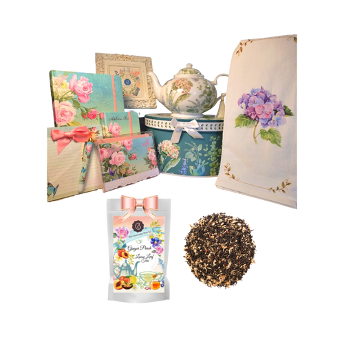"""There's Always Time for Tea- Gift Box-Blue Hydrangea: Kick your heels off and enjoy teatime with this lovely gift set. Comes with porcelain teapot in matching print gift box, Cornucopia's Loose-Leaf tea, and stationery set. Sip your tea, write in the journal, complete a note to a friend or make notes on the note pad, and rejuvenate to meet the rest of the day. Our high grade tea will leave you feeling refreshed and ready to meet any challenges ahead.   Includes:  5 x 5.6"""" Porcelain Blue Hydrangea teapot in its own matching print gift box with matching satin ribbon. A decorative tassel on the handle adds a lovely finishing touch. Soft white background with a Blue Butterfly and pastel floral print. Dishwasher safe. 1 oz of Cornucopia Loose-Leaf Black Tea - Ginger Peach combines fresh ginger and the essence of sun-ripened peaches with a base of organic black tea. Cornucopia Teas come in resealable pouches with decorative tea labels as shown in the image, along with a recipe and brewing guide. Soft 100% cotton large white flour sack tea towel with coordinating print hard cover journals (1), square memo pad/pen sets with ribbon accent (1), hard cover address books (1), blank fold over embossed note cards (10 to a box with envelopes)  Other Items Available:  Matching cup and saucer available D8151-4. Additional pieces, teas and Teaware are shipped together,  Gifting Idea: birthday gift, bridal shower, get well, treat yourself or someone you love. If purchasing as a gift your personal message is included on the pamphlet and placed inside the shipping box."""