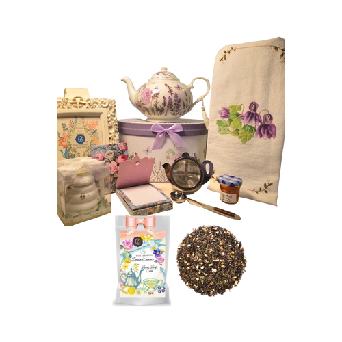 """There's Always Time for Tea- Gift Box-Lavender Rose: Kick your heels off and enjoy teatime with this lovely gift set. Comes with porcelain teapot in matching print gift box, Cornucopia's Loose-Leaf tea, tea accessories and stationery. Sip your tea, make notes on the note pad, and rejuvenate to meet the rest of the day. Our high grade tea will leave you feeling refreshed and ready to meet any challenges ahead.   Includes:  5 x 5.6"""" Porcelain Lavender Rose teapot in its own matching print gift box with matching satin ribbon. A decorative tassel on the handle adds a lovely finishing touch. Soft white background with a Blue Butterfly and pastel floral print. Dishwasher safe. 1 oz of Cornucopia Loose-Leaf Black Tea -Lemon Essence with Peel Cornucopia Teas come in resealable pouches with decorative tea labels as shown in the image, along with a recipe and brewing guide. Soft 100% cotton large white flour sack tea towel with coordinating print Cha Cult Tea Filter Lid included Medium (Germany) Honey Pot with Dipper 1 oz Bonne Maman honey, 1- loose leaf measuring spoon with engraved wording on the handle """" A cup of perfect tea"""", Embossed purse pad 3 inches x 4 inches and has 100 coordinating patterned pages and a magnetic closure  Other Items Available:  Matching cup and saucer available D8101-7.sold separately. Additional pieces, teas and Teaware are shipped together,  Gifting Idea: birthday gift, bridal shower, get well, treat yourself or someone you love. If purchasing as a gift your personal message is included on the pamphlet and placed inside the shipping box."""