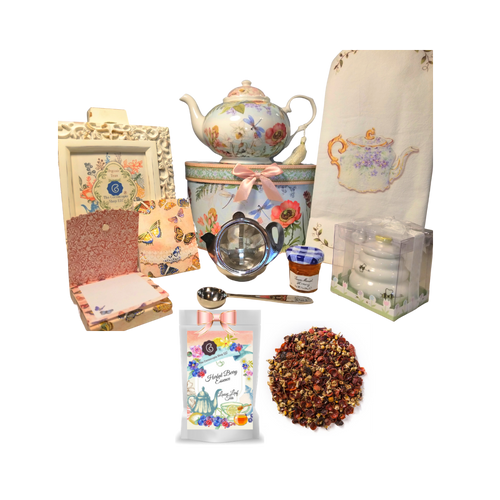 """There's Always Time for Tea- Gift Box-Dragonfly: Kick your heels off and enjoy teatime with this lovely gift set. Comes with porcelain teapot in matching print gift box, Cornucopia's Loose-Leaf tea, tea accessories and stationery. Sip your tea, make notes on the note pad, and rejuvenate to meet the rest of the day. Our high grade tea will leave you feeling refreshed and ready to meet any challenges ahead.   Includes:  5 x 5.6"""" Porcelain Dragonfly teapot in its own matching print gift box with matching satin ribbon. A decorative tassel on the handle adds a lovely finishing touch. Soft white background with a Blue Butterfly and pastel floral print. Dishwasher safe. 1 oz of Cornucopia Loose-Leaf Black Tea -Herbal Berry Essence (Loose Leaf) combines blueberry, raspberry and blackberry essences with a floral base of rosehips, chamomile, hibiscus and South African rooibos. Cornucopia Teas come in resealable pouches with decorative tea labels as shown in the image, along with a recipe and brewing guide. Soft 100% cotton large white flour sack tea towel with coordinating print Cha Cult Tea Filter Lid included Medium (Germany) Honey Pot with Dipper 1 oz Bonne Maman honey, 1- loose leaf measuring spoon with engraved wording on the handle """" A cup of perfect tea"""", Embossed purse pad 3 inches x 4 inches and has 100 coordinating patterned pages and a magnetic closure  Other Items Available:  Matching cup and saucer available D8135-0 sold separately. Additional pieces, teas and Teaware are shipped together,  Gifting Idea: birthday gift, bridal shower, get well, treat yourself or someone you love. If purchasing as a gift your personal message is included on the pamphlet and placed inside the shipping box."""