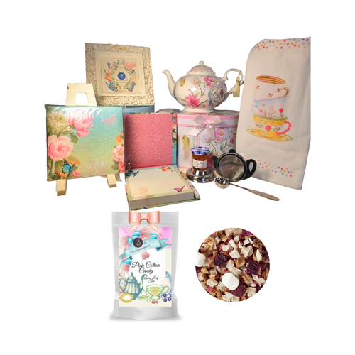 """There's Always Time for Tea- Gift Box-Feather & Floral: Kick your heels off and enjoy teatime with this lovely gift set. Comes with porcelain teapot in matching print gift box, Cornucopia's Loose-Leaf tea, tea accessories and stationery. Sip your tea, make notes on the note pad, and rejuvenate to meet the rest of the day. Our high grade tea will leave you feeling refreshed and ready to meet any challenges ahead.   Includes:  5 x 5.6"""" Porcelain Feather & Floral teapot in its own matching print gift box with matching satin ribbon. A decorative tassel on the handle adds a lovely finishing touch. Soft white background with a Blue Butterfly and pastel floral print. Dishwasher safe. 1 oz of Cornucopia Loose-Leaf Fruit tea blend, flavored Cotton Candy/Raspberry, This fruit tea is low in acid, has a distinct sweetness and a bright, shining, pink cup. This composition is not only a girl's dream come true, it will seduce every sweet tooth on the block with its scent of sweet candyfloss and fruity, ripe raspberries. Enjoyed cold, it is a fairy-tale in itself. Cornucopia Teas come in resealable pouches with decorative tea labels as shown in the image, along with a recipe and brewing guide. Soft 100% cotton large white flour sack tea towel with coordinating print Cha Cult Tea Filter Lid included Medium (Germany) 1 oz Bonne Maman honey, 1- loose leaf measuring spoon with engraved wording on the handle """" A cup of perfect tea"""", Enchanted Garden memo pad/pen sets with ribbon accent (1)  Other Items Available:  Matching cup and saucer available D8135-6 sold separately. Additional pieces, teas and Teaware are shipped together,  Gifting Idea: birthday gift, bridal shower, get well, treat yourself or someone you love. If purchasing as a gift your personal message is included on the pamphlet and placed inside the shipping box."""