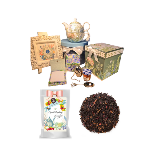 """Tea for one set-Blue Hydrangea, will brighten anyone's day with this beautiful tea for one gift set in its own matching print gift box with matching satin ribbon. A decorative tassel on the handle adds a lovely finishing touch. Cornucopia's Loose Leaf Tea, 1 oz honey, Tea Filter, embossed stationary purse pad in a coordinated colors and pattern. Gifting Idea: birthday gift, bridal shower, get well, thank you or treat yourself. Holds enough for a refill without leaving your comfy spot, desk or sip at beside for an evening nightcap.  Gift Set Includes:  5.8"""" Tea for One Set in gift box, stacked teapot and oversized teacup, soft white background with a blue Hydrangea floral print, dishwasher safe. 1 oz of Loose-Leaf Cornucopia Tea. 7T6355 Black Tea Spiced Raspberry Cornucopia Teas come in resealable pouches with decorative tea labels as shown in the image, along with a brewing guide. 1 oz Bonne Maman honey, Embossed Purse Pad, pad is 3 inches x 4 inches and has 100 coordinating patterned pages and a magnetic closure Teapot design tea measuring spoon, holds enough for one cup of brewed tea Tea Egg stainless steel Tea Filter with drip catcher by Cha Cult (Germany)  Gift comes in its decorative box as the gift basket container, shrink wrapped and decorative coordinating bow. Gift card comes with a 10% discount on their first purchase of tea, and your personal message. Card is tucked inside the shipping box with the gift."""