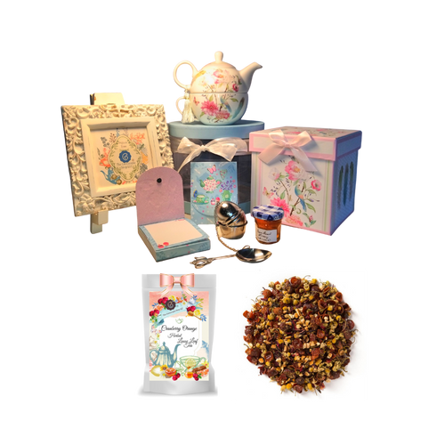 "Tea for One Gift Set- Feather & Floral, will brighten anyone's day with this beautiful tea for one gift set in its own matching print gift box with matching satin ribbon. A decorative tassel on the handle adds a lovely finishing touch. Cornucopia's Loose Leaf Tea, 1 oz honey, Tea Filter, embossed stationary purse pad in a coordinated colors and pattern. Gifting Idea: birthday gift, bridal shower, get well, thank you or treat yourself. Holds enough for a refill without leaving your comfy spot, desk or sip at beside for an evening nightcap.    Gift Set Includes:  5.8"" Tea for One Set in gift box, stacked teapot and oversized teacup, soft white background with a feather and floral print, dishwasher safe. 1 oz of Loose-Leaf Cornucopia Tea. 7T6359 Herbal Cranberry Orange combines cranberry essence with a unique base of chamomile flowers and orange peel. Conrucopia Teas come in resealable pouches with decorative tea labels as shown in the image, along with a recipe and brewing guide. 1 oz Bonne Maman honey, Embossed Purse Pad Each, pad is 3 inches x 4 inches and has 100 coordinating patterned pages and a magnetic closure Teapot design Tea spoon Tea Egg stainless steal Tea Filter with drip catcher by Cha Cult (Germany)   Teas and Teaware are shipped together. If purchasing as a gift your personal message is included on the pamphlet."
