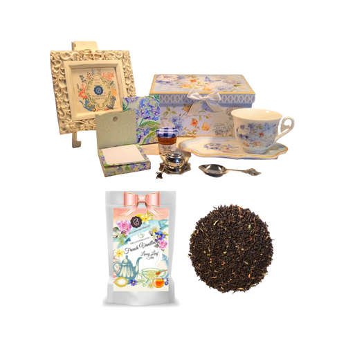 "Tea and Toast Gift Set -Blue Butterfly:  Enjoy your morning breakfast or afternoon tea and snack on this pretty set.  A pleasant way to create a moment of indulgence.  Sip on Conrcopia's specialty loose leaf tea and cuddle up with a good book, sounds inviting to whisk your cares away. Meant for everyday use.  Comes in its own matching print gift box with matching satin ribbon. Great Gift Idea: New Mommy, Birthday, get well, thank you.    Gift Set Includes:  4.2"" x 9""  tray, Porcelain Teacup: Soft white background with a blue butterfly and floral print, dishwasher safe  1 oz of Decafinated Loose-Leaf Cornucopia Tea. 7T6357 French Vanilla (Loose Leaf) combines creamy carob with the essence of sweet vanilla and a robust base of decaffeinated black tea. Conrucopia Teas come in resealable pouches with decorative tea labels as shown in the image, along with a recipe and brewing guide.  1 oz Bonne Maman honey, Embossed Purse Pad Each, pad is 3 inches x 4 inches and has 100 coordinating patterned pages and a magnetic closure, Teapot design Tea spoon, Tea Egg stainless steal Tea Filter with drip catcher by Cha Cult (Germany)   Teas and Teaware are shipped together. If purchasing as a gift your personal message is included on the pamphlet."
