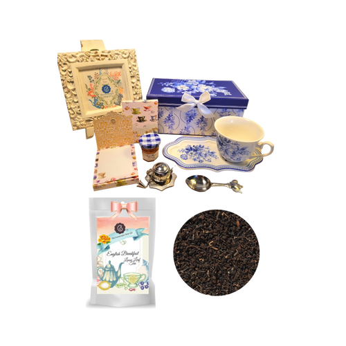 "Tea and Toast Gift Set -English Blue:  Enjoy your morning breakfast or afternoon tea and snack on this pretty set.  A pleasant way to create a moment of indulgence.  Sip on Conrcopia's specialty loose leaf tea and cuddle up with a good book, sounds inviting to whisk your cares away. Meant for everyday use.  Comes in its own matching print gift box with matching satin ribbon. Great Gift Idea: New Mommy, Birthday, get well, thank you.    Gift Set Includes:  4.2"" x 9""  tray, Porcelain Teacup: Soft white background with a Blue floral print, dishwasher safe  1 oz of Decafinated Loose-Leaf Cornucopia Tea. 8T22365 English Breakfast Conrucopia Teas come in resealable pouches with decorative tea labels as shown in the image, along with a recipe and brewing guide.  1 oz Bonne Maman honey, Embossed Purse Pad Each, pad is 3 inches x 4 inches and has 100 coordinating patterned pages and a magnetic closure, Teapot design Tea spoon, Tea Egg stainless steal Tea Filter with drip catcher by Cha Cult (Germany)   Teas and Teaware are shipped together. If purchasing as a gift your personal message is included on the pamphlet."