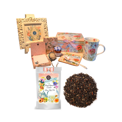 """Tea for Me Gift Set- Dragonfly will brighten anyone's day in its own matching print gift box with matching satin ribbon. A decorative tassel on the handle adds a lovely finishing touch. The matching coaster is perfect for any spot you leave your cup and the porcelain teaspoon makes tea time all the more special, small tea ball, Conrucopia's Loose Leaf Tea, Bonne Maman Honey and stationary Purse Memo Pad complete this gift set. Gifting Idea: birthday gift, bridal shower, get well, office gift, or thank you.  Gift Includes:  4.9"""" Porcelain Mug in gift box, matching Coaster, Teaspoon,Soft white background with a dragonflyfloral print, dishwasher safe. 1 oz of Loose-Leaf Cornucopia Tea 7T6358 Peach-Apricot Essence combines an Australian lemon myrtle with natural peach flavor, apricot essence and an organic black tea base. Ingredients: Organic black tea, organic lemon myrtle, natural flavor, organic calendula flowers and organic safflower. Taste:a full-bodied black tea brew with nuances of crisp fruit. Cornucopia Teas come in resealable pouches with decorative tea labels as shown in the image, along with a recipe and brewing guide. (1) Cha Cult Tea Ball, small (Germany) for loose leaf tea, 1 oz Bonne Maman honey, (1) Embossed Purse Pad Each, pad is 3 inches x 4 inches and has 100 coordinating patterned pages and a magnetic closure."""