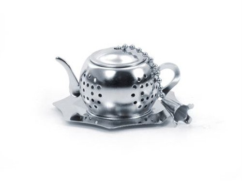 "Small Stainless Steel Tea ball ""Kettle"" diam. approx. 1.77"" with drip catcher tray, allows you to brew your loose leaf tea. Perfect size for Tea by the cup, Tea for one sets, Mugs, and 2 cup teapots.  How to Use:   Fill with 1/2 Teaspoon of your favorite Cornucopia Loose Leaf Tea and use just as you would a teabag.  Allow to sit in the water for a moment or two and then dip it in and out of the tea cup, or pot to release the tea flavors and it reaches your desired color or strength of tea. Remove and place on a tea saucer, teabag holder or if included the tea ball rest."