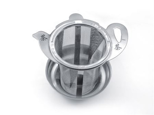 "Medium Stainless Steel Tea Filter ""Teapot design"" 2.5 "" with lid/drip catcher tray, allows you to brew your loose leaf tea.   How to Use:   Fill with your favorite Cornucopia Loose Leaf Tea and cover with the lid. Allow to sit in the water for a moment or two and then dip it in and out of the tea cup, or pot to release the tea flavors and it reaches your desired color or strength of tea. Remove and place on a tea saucer, teabag holder or if included the lid.    Brewing notes: always follow brewing instructions on each individual tea."