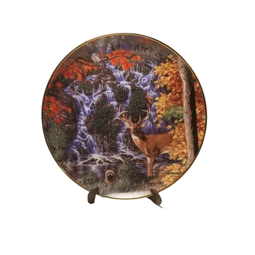 Collection Plate - Stag Falls Wilderness Reflections porcelain plate collection  Beautiful fall color and blue white rock waterfall fill the background for a Deer, Racoon, and Bird. See if you can locate the Deer in the background.    Artist: John Van Straalen, Signed limited addition  Certificate of Authenticity by the Danbury Mint Porcelain with 23K gold trim on rim and numbered