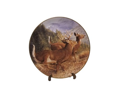 Collection Plate -Summer Flight Pride of the Wilderness porcelain plate collection  Beautiful fall Deer in flight in their natural surroundings.   Artist: Bob Travers, Signed limited addition  Certificate of Authenticity by the Danbury Mint Porcelain with 23K gold trim on rim and numbered