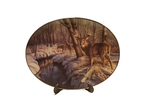 Collection Plate -Winter's Calm Woodland Tranquility porcelain plate collection  Deer in a winter wood setting.   Artist: Greg Alexander , Signed limited addition  Certificate of Authenticity by the Bradford Exchange Porcelain with 23K gold trim on rim and numbered