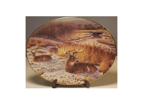 Collection Plate -Frosty Morn Woodland Tranquility porcelain plate collection  Deer resting in a snow covered field in a winter's morn setting.   Artist: Greg Alexander , Signed limited addition  Certificate of Authenticity by the Bradford Exchange Porcelain with 23K gold trim on rim and numbered