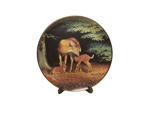 Collection Plate -Happy Hour Woodland Tranquility porcelain plate collection  Beautiful a Mother and her Doe's   Artist: Greg Alexander , Signed limited addition  Certificate of Authenticity by the Bradford Exchange Porcelain with 23K gold trim on rim and numbered