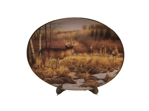 Collection Plate -Crossing Boundaries Woodland Tranquility porcelain plate collection  Deer in their natural habitat meet.   Artist: Greg Alexander , Signed limited addition  Certificate of Authenticity by the Bradford Exchange Porcelain with 23K gold trim on rim and numbered