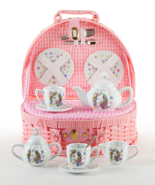 Toy Porcelain Tea Set in basket chest - Unicorn: It's a tea party set for two! Unicorn rainbow bright print, pink picnic basket chest with pink gingham checked cloth liner. Perfect activity set for any little girl. Matching Tea Party Apple Dumplings dolls and Children's Tea add on available.      1-Teapot, 2-Cup and Saucer, 2-Serving plates, 2 each, Spoon and Fork, 1-Pink Storage Picnic basket.  This set is part of the Cornucopia's Toy Tea party set and comes with additional add ons:  Perfect tea party compaion doll by Apple Dumplin Dolls 1 oz (12 tea parties or more) Children's Tea available There is hardly another fruit on this planet which is as popular among young and old as the strawberry. We are, therefore, presenting our particular, decaffeinated, flavored green tea variation. Its mild and, at the same time, intense taste is due to a natural strawberry flavoring, which shines when interacting with the soft tea basis. Ingredients: decaffeinated green tea, freeze-dried strawberry pieces, natural flavoring type strawberry. All choices are shipped together in one box. Gift card enclosure