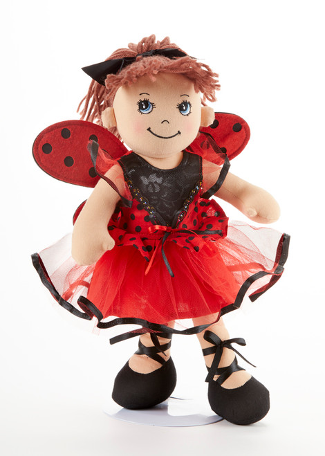 "14"" Apple Dumplin Lady Bug Doll: This little lady is in Lady Bug dance shoes and outfit with ladybug wings!   She's just waiting to be invited to Tea!    Includes:  1 -14"" Apple Dumplin Lady Bug Doll"