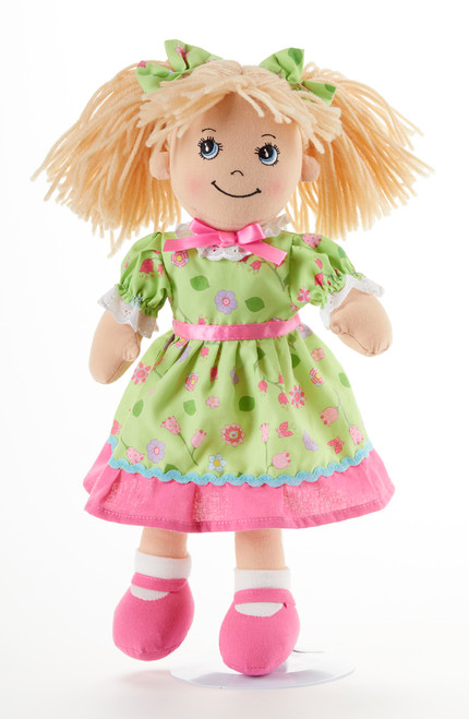 "14"" Apple Dumplin Green Flower Doll: She's all dressed up in her prettiest play dress of green with pastel polka dots, pink shoes and matching ribbons in her pony tails!   She's just waiting to be invited to Tea!    Includes:  1 14"" Apple Dumplin Doll"