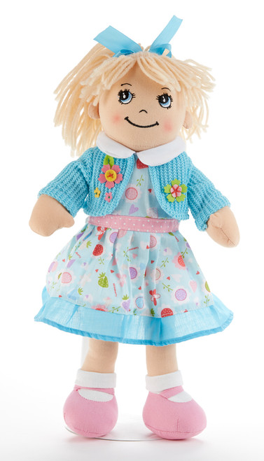 "14"" Apple Dumplin Blue Floral Doll: She's all dressed up in her prettiest play dress of blue floral with matching sweater, pink shoes and matching ribbon in her pony tail!   She's just waiting to be invited to Tea! Includes:  1 14"" Apple Dumplin Doll"