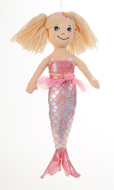 "14"" Apple Dumplin Pink Mermaid Doll: She's all dressed up in her prettiest mermaid dress of pastel Pink. If your little one loves mermaids she will adore this doll and best of all she's so ready to come to tea!    Includes:  1 14"" Apple Dumplin Doll"