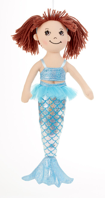 """14"""" Apple Dumplin Blue Mermaid Doll: She's all dressed up in her prettiest mermaid dress of pastel blue. If your little one loves mermaids she will adore this doll and best of all she's so ready to come to tea!  Includes:  1 14"""" Apple Dumplin Doll"""