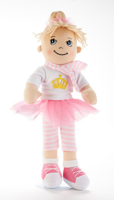 "14"" Apple Dumplin Pink Crown Doll: She's all dressed up in her prettiest play dress and crown in a pastel Pink Tutu skirt with matching sweater, and pink shoes.  A bit of sunshine sure to make any little girl happy, and best of all she's so ready to come to tea!   Includes:  1-14"" Apple Dumplin Doll"