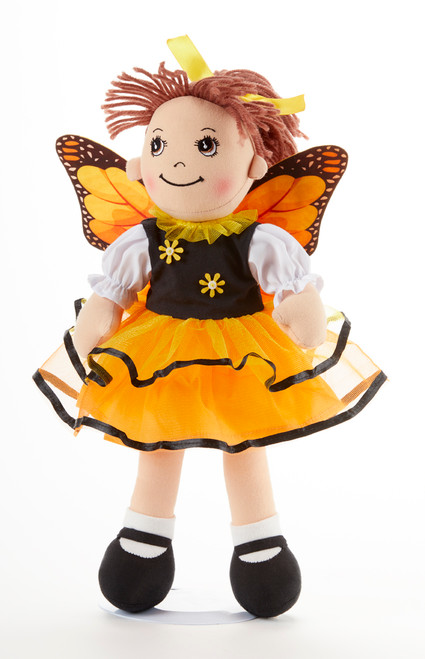 "14"" Apple Dumplin Yellow Butterfly Doll: This little lady is in her yellow butterfly outfit with swinging tutu and butterfly wings! Ready to be your little princess's tea party companion!   Includes:  1 14"" Apple Dumplin Doll"