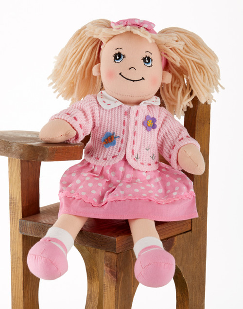 "114"" Apple Dumplin Pink Dot Doll: She's all dressed up in her prettiest play dress of pink pastel polka dots, pink shoes and matching sweater and ribbon in her hair.  A perfect tea party companion.   She's just waiting to be invited to Tea!    Includes:  1 14"" Apple Dumplin Doll"