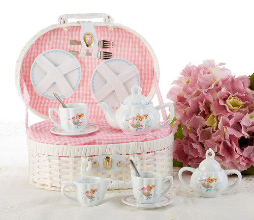 Toy Porcelain Tea Set in basket chest -Mermaid It's a tea party set for two! Mermaid blue print tea set in a white picnic basket chest with pink gingham check cloth liner. Perfect activity set for any little girl.  1-Teapot, 2-Cup and Saucer, 2-Serving plates, 2 each, Spoon and Fork, 1-Storage Picnic basket.   This set is part of the Cornucopia's Toy Tea party set and comes with additional add ons:  Perfect tea party compaion doll by Apple Dumplin Dolls 1 oz (12 tea parties or more) Children's Tea available. There is hardly another fruit on this planet which is as popular among young and old as the strawberry. We are, therefore, presenting our particular, decaffeinated, flavored green tea variation. Its mild and, at the same time, intense taste is due to a natural strawberry flavoring, which shines when interacting with the soft tea basis. Ingredients: decaffeinated green tea, freeze-dried strawberry pieces, natural flavoring type strawberry. All choices are shipped together in one box. Gift card enclosure