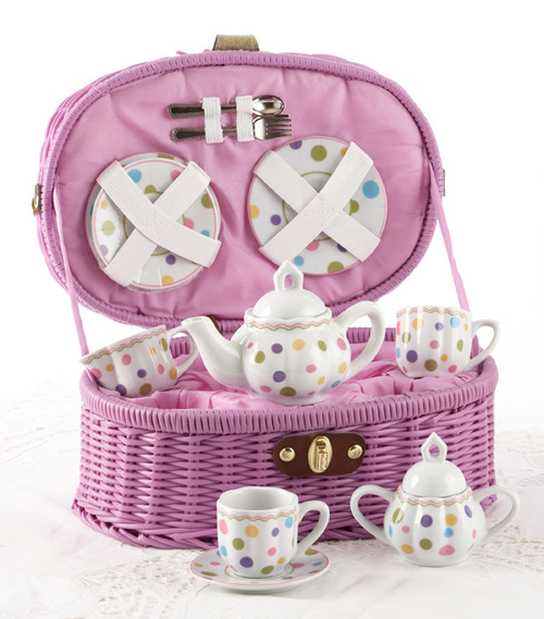 Toy Porcelain Tea Set in Basket- Gum Drops: It's a tea party set for two! Pastel polka dot print tea set in a lavender picnic basket chest with matching cloth liner. Perfect activity set for any little girl.  1-Teapot, 2-Cup and Saucer, 2-Serving plates, 2 each, Spoon and Fork, 1-Storage Picnic basket.  This set is part of the Cornucopia's Toy Tea party set and comes with additional add ons:  Perfect tea party compaion doll by Apple Dumplin Dolls 1 oz (12 tea parties or more) Children's Tea available There is hardly another fruit on this planet which is as popular among young and old as the strawberry. We are, therefore, presenting our particular, decaffeinated, flavored green tea variation. Its mild and, at the same time, intense taste is due to a natural strawberry flavoring, which shines when interacting with the soft tea basis. Ingredients: decaffeinated green tea, freeze-dried strawberry pieces, natural flavoring type strawberry. All choices are shipped together in one box. Gift card enclosure