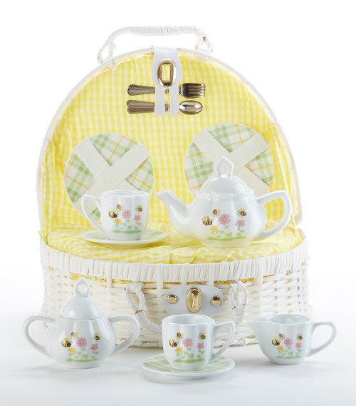 Toy Porcelain Tea Set in Basket- Bee Buzz: It's a tea party set for two! Bee and floral print tea set in a white picnic basket chest with yellow check cloth liner. Perfect activity set for any little girl. By Delton Ages 5 +  1-Teapot, 2-Cup and Saucer, 2-Serving plates, 2 each, Spoon and Fork, 1-Storage Picnic basket.  This set is part of the Cornucopia's Toy Tea party set and comes with additional add ons:  Perfect tea party companion doll by Apple Dumplin Dolls 1 oz (12 tea parties or more) Children's Tea available There is hardly another fruit on this planet which is as popular among young and old as the strawberry. We are, therefore, presenting our particular, decaffeinated, flavored green tea variation. Its mild and, at the same time, intense taste is due to a natural strawberry flavoring, which shines when interacting with the soft tea basis. Ingredients: decaffeinated green tea, freeze-dried strawberry pieces, natural flavoring type strawberry. All choices are shipped together in one box. Gift card enclosure