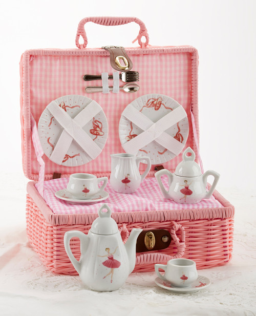 Toy PorcelaToy Porcelain Tea Set in Basket - Pink Ballerina: It's a tea party set for two! Pink Ballerina print tea set in a pink picnic basket chest with pink check cloth liner. Perfect activity set for any little girl.  1-Teapot, 2-Cup and Saucer, 2-Serving plates, 2 each, Spoon and Fork, 1-Storage Picnic basket.  This set is part of the Cornucopia's Toy Tea party set and comes with additional add ons:  Perfect tea party compaion doll by Apple Dumplin Dolls 1 oz (12 tea parties or more) Children's Tea available There is hardly another fruit on this planet which is as popular among young and old as the strawberry. We are, therefore, presenting our particular, decaffeinated, flavored green tea variation. Its mild and, at the same time, intense taste is due to a natural strawberry flavoring, which shines when interacting with the soft tea basis. Ingredients: decaffeinated green tea, freeze-dried strawberry pieces, natural flavoring type strawberry. All choices are shipped together in one box. Gift card enclosure