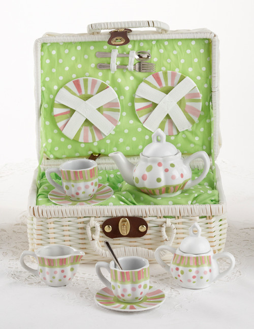 Toy Porcelain Tea Set in Basket - Sprinkles: It's a tea party set for two! Pastel polka dot and stripe print tea set in a white picnic basket chest with lime green check cloth liner. Perfect activity set for any little girl.  1-Teapot, 2-Cup and Saucer, 2-Serving plates, 2 each, Spoon and Fork, 1-Storage Picnic basket.  This set is part of the Cornucopia's Toy Tea party set and comes with additional add ons:  Perfect tea party compaion doll by Apple Dumplin Dolls 1 oz (12 tea parties or more) Children's Tea available There is hardly another fruit on this planet which is as popular among young and old as the strawberry. We are, therefore, presenting our particular, decaffeinated, flavored green tea variation. Its mild and, at the same time, intense taste is due to a natural strawberry flavoring, which shines when interacting with the soft tea basis. Ingredients: decaffeinated green tea, freeze-dried strawberry pieces, natural flavoring type strawberry. All choices are shipped together in one box. Gift card enclosure