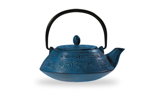 "Iron teapot ""Oshima"", blue 3 cups / 27.03 fl.oz.   Made of high quality materials and crafted by artisans in traditional ways for centuries with beautiful textured patterns and enameled inside. Cast Iron teapots are to be used just as you would a porcelain teapot by boiling water and pouring into your cast iron teapot.  Although these are made of cast iron, they are not a tea kettle which is made to withstand the heat of the stove top.    Blue with relief, enameled inside, stainless stell strainer  To clean, rinse with warm water and hand dry.  Not dishwasher safe.  Not for stove top or microwave use."