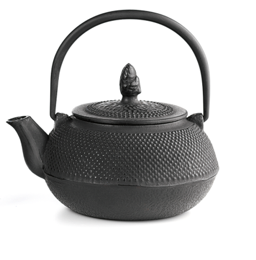 "Teapot ""Kiyoko"" ironware, black, 3 cups/ 27.01 fl. oz. l with stainless steel strainer  Made of high quality materials and crafted by artisans in traditional ways for centuries with beautiful textured patterns and enameled inside. Cast Iron teapots are to be used just as you would a porcelain teapot by boiling water and pouring into your cast iron teapot.  Although these are made of cast iron, they are not a tea kettle which is made to withstand the high heat of the stove top.    Black with relief, enameled inside, stainless stell strainer  To clean, rinse with warm water and hand dry.  Not dishwasher safe.  Not for stove top or microwave use."